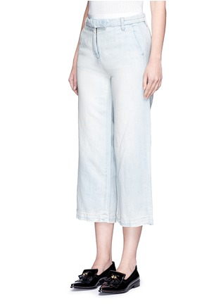 Front View - Click To Enlarge - Current/Elliott - 'The Cropped Neat' cotton-linen flared denim pants