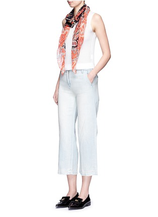 Figure View - Click To Enlarge - Current/Elliott - 'The Cropped Neat' cotton-linen flared denim pants