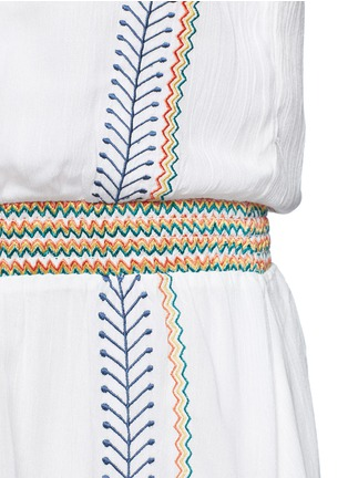 Detail View - Click To Enlarge - alice + olivia - 'Jolene' embroidered stripe neck tie dress