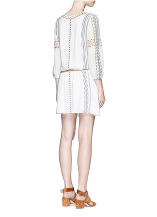Back View - Click To Enlarge - alice + olivia - 'Jolene' embroidered stripe neck tie dress