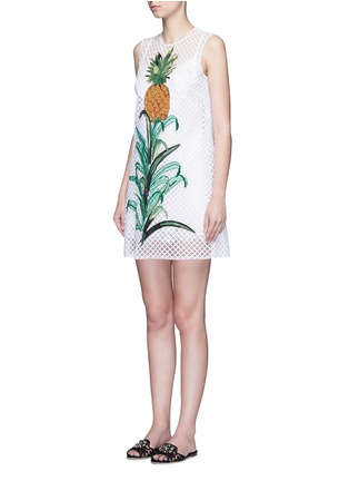 Front View - Click To Enlarge - Dolce & Gabbana - Pineapple embellished lattice embroidery dress