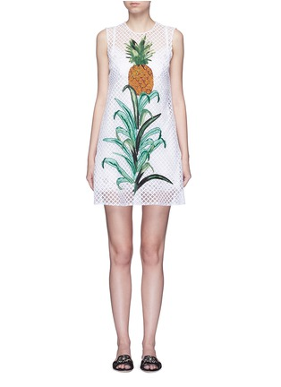 Main View - Click To Enlarge - - - Pineapple embellished lattice embroidery dress
