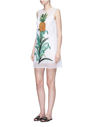 Figure View - Click To Enlarge - - - Pineapple embellished lattice embroidery dress