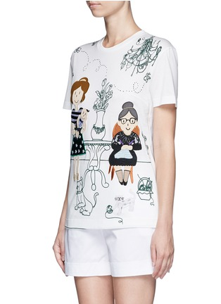 Front View - Click To Enlarge - Dolce & Gabbana - Family appliqué Victorian Garden print T-shirt