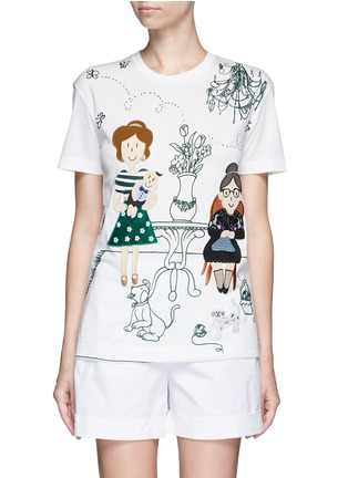 Main View - Click To Enlarge - Dolce & Gabbana - Family appliqué Victorian Garden print T-shirt