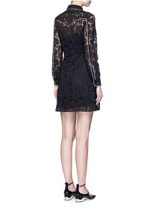Back View - Click To Enlarge - Valentino - Piped trim lace Western A-line dress