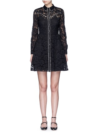 Main View - Click To Enlarge - Valentino - Piped trim lace Western A-line dress