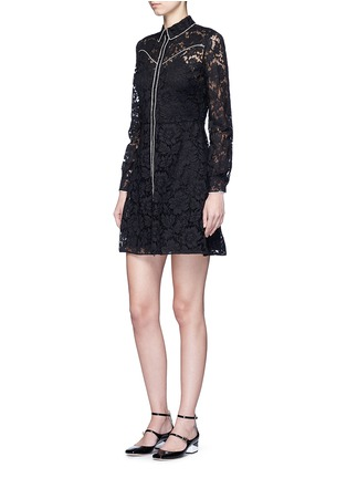 Figure View - Click To Enlarge - Valentino - Piped trim lace Western A-line dress