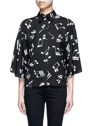 Main View - Click To Enlarge - SAINT LAURENT - Musical note print bell sleeve shirt