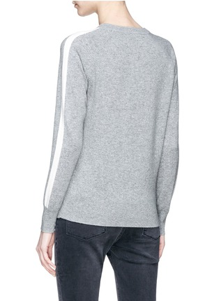 Back View - Click To Enlarge - Theory - Stripe sleeve cashmere sweater