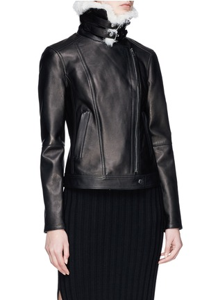 Detail View - Click To Enlarge - Theory - 'Pomono B' lambskin shearling collar leather jacket