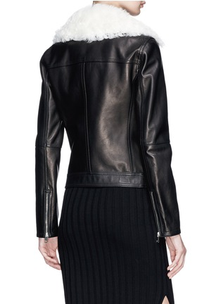 Back View - Click To Enlarge - Theory - 'Pomono B' lambskin shearling collar leather jacket