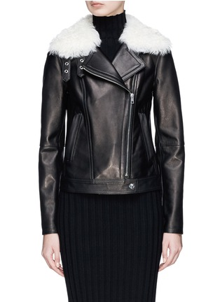Main View - Click To Enlarge - Theory - 'Pomono B' lambskin shearling collar leather jacket