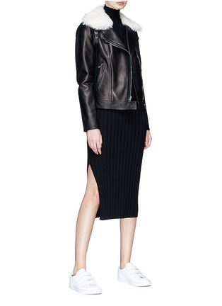 Figure View - Click To Enlarge - Theory - 'Pomono B' lambskin shearling collar leather jacket