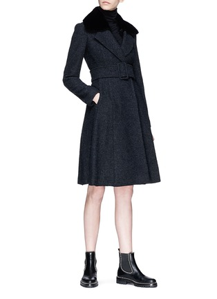Figure View - Click To Enlarge - Theory - Detachable shearling collar belted bouclé coat