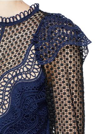 Detail View - Click To Enlarge - self-portrait - Mesh panel wavy guipure lace mini dress