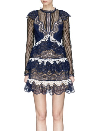 Main View - Click To Enlarge - self-portrait - Mesh panel wavy guipure lace mini dress