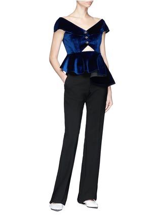 Figure View - Click To Enlarge - self-portrait - Cutout off-shoulder velvet asymmetric peplum top