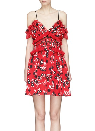 Main View - Click To Enlarge - self-portrait - Floral print pleated cold-shoulder crepe mini dress