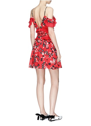 Figure View - Click To Enlarge - self-portrait - Floral print pleated cold-shoulder crepe mini dress