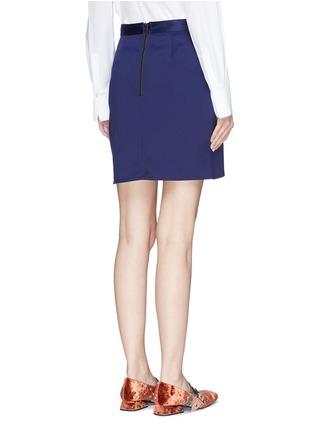 Back View - Click To Enlarge - self-portrait - Guipure lace panel asymmetric satin skirt