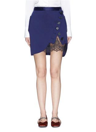 Main View - Click To Enlarge - self-portrait - Guipure lace panel asymmetric satin skirt