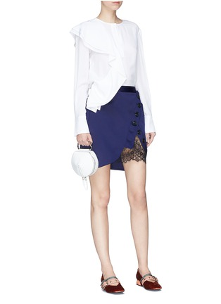 Figure View - Click To Enlarge - self-portrait - Guipure lace panel asymmetric satin skirt