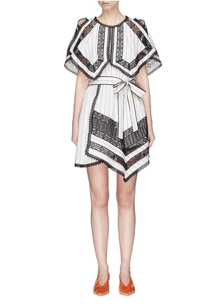 Main View - Click To Enlarge - self-portrait - Handkerchief cape overlay lace panel dress