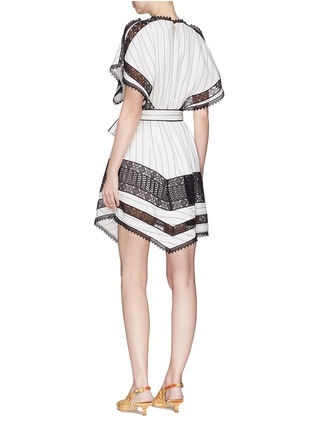 Figure View - Click To Enlarge - self-portrait - Handkerchief cape overlay lace panel dress