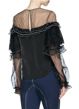 Back View - Click To Enlarge - self-portrait - Organdy frill mesh yoke satin top