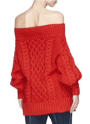 Back View - Click To Enlarge - self-portrait - Oversized off-shoulder cable knit sweater