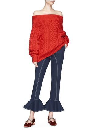 Figure View - Click To Enlarge - self-portrait - Oversized off-shoulder cable knit sweater