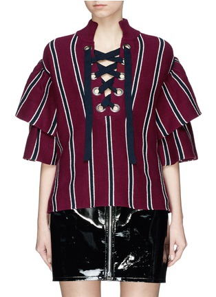 Main View - Click To Enlarge - self-portrait - Frill sleeve lace-up stripe rib knit sweater