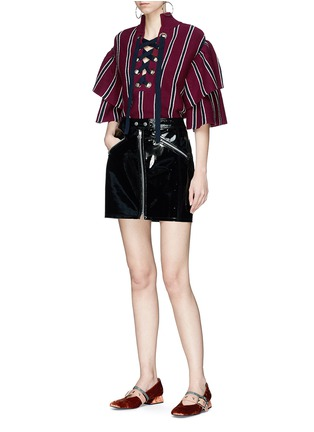 Figure View - Click To Enlarge - self-portrait - Frill sleeve lace-up stripe rib knit sweater