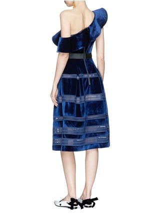 Figure View - Click To Enlarge - self-portrait - Frill one-shoulder flared velvet dress