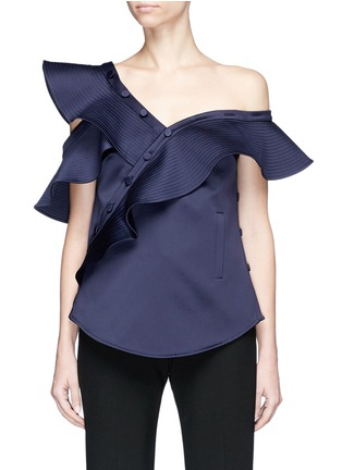 Main View - Click To Enlarge - self-portrait - ASYMMETRIC FRILL ONE-SHOULDER SATIN TOP