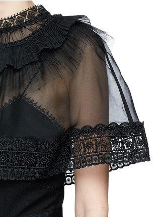 Detail View - Click To Enlarge - self-portrait - Chiffon cape overlay cady jumpsuit