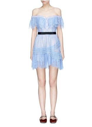 Main View - Click To Enlarge - self-portrait - Floral guipure lace off-shoulder mini dress