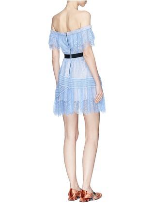 Figure View - Click To Enlarge - self-portrait - Floral guipure lace off-shoulder mini dress