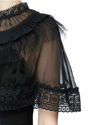 Detail View - Click To Enlarge - self-portrait - Chiffon cape overlay cady mini dress