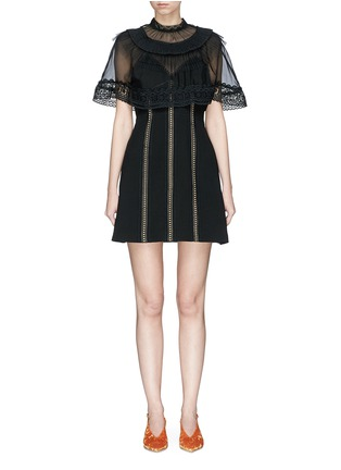 Main View - Click To Enlarge - self-portrait - Chiffon cape overlay cady mini dress
