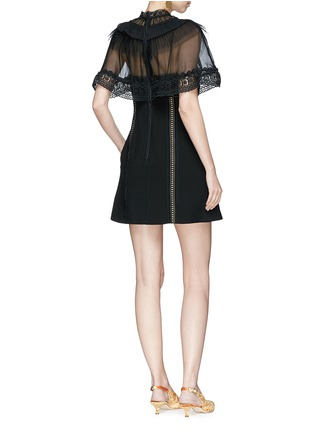 Figure View - Click To Enlarge - self-portrait - Chiffon cape overlay cady mini dress