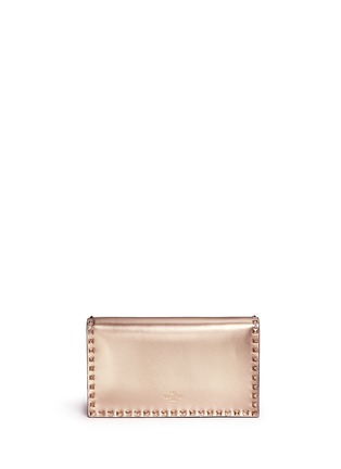 Back View - Click To Enlarge - Valentino - 'Rockstud' leather flap clutch