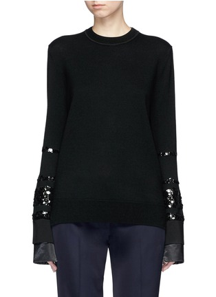 Main View - Click To Enlarge - VICTORIA, VICTORIA BECKHAM - Paillette stripe Merino wool sweater