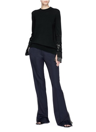 Figure View - Click To Enlarge - VICTORIA, VICTORIA BECKHAM - Paillette stripe Merino wool sweater