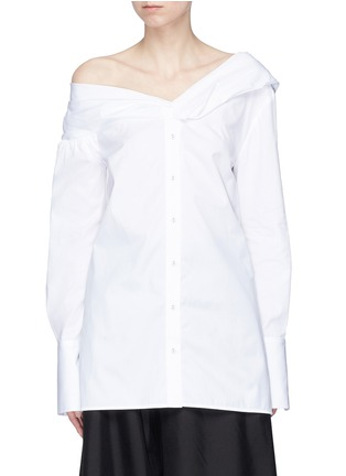 Main View - Click To Enlarge - VICTORIA, VICTORIA BECKHAM - One-shoulder poplin shirt