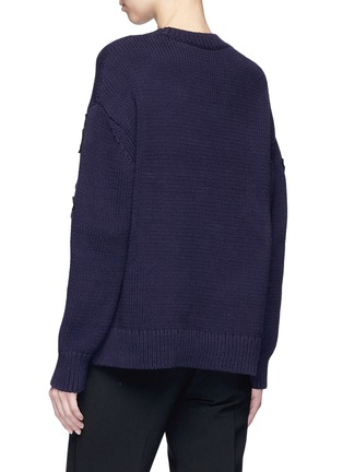 Back View - Click To Enlarge - VICTORIA, VICTORIA BECKHAM - Floral patch cotton blend sweater