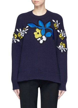 Main View - Click To Enlarge - VICTORIA, VICTORIA BECKHAM - Floral patch cotton blend sweater