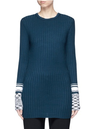 Main View - Click To Enlarge - VICTORIA, VICTORIA BECKHAM - Marled cuff rib knit sweater