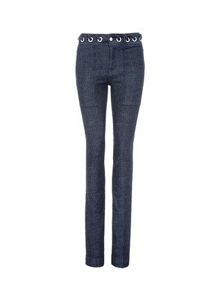 Main View - Click To Enlarge - VICTORIA, VICTORIA BECKHAM - Whipstitch waistband slim flared jeans